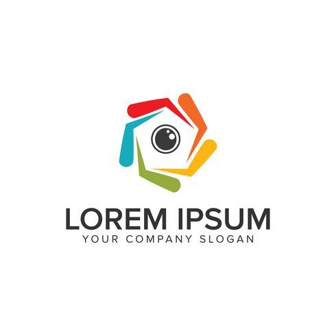 Camera lens Logo design concept template. vector