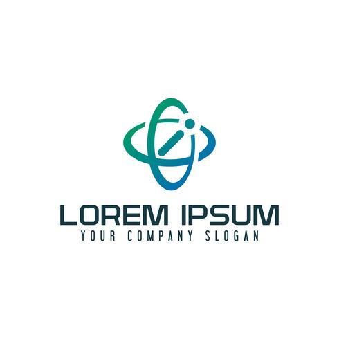 Logotipo de la letra I. Plantilla de concepto de diseño de tecnología satelital