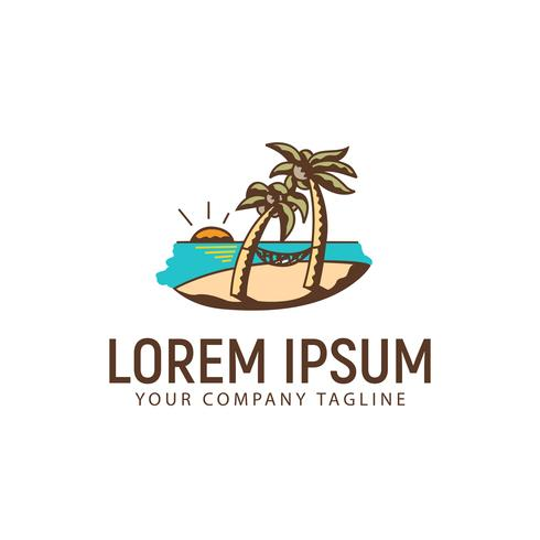 summer landscape hand drawn logo design concept template vector