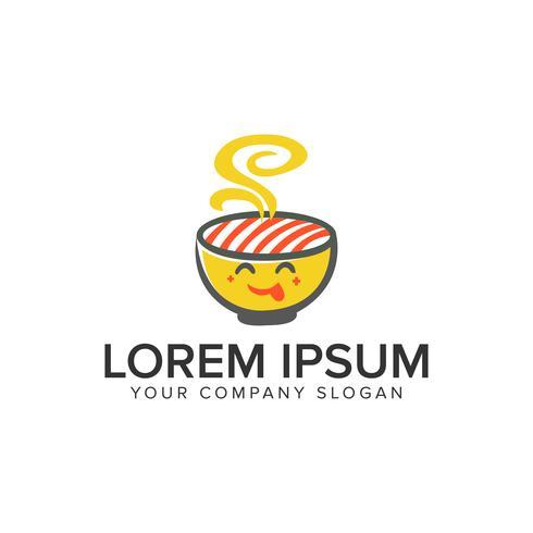 Modello di concetto di disegno di cibo noodle logo. vettore