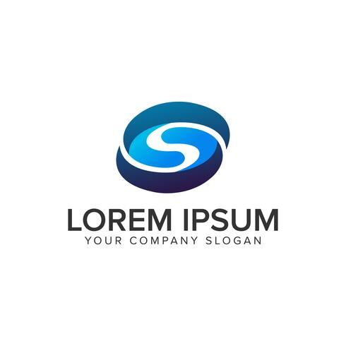 brev S 3D oval logo design koncept mall. fullt redigerbar v