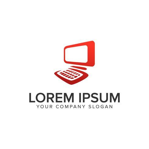 Plantilla de concepto de diseño de logotipo de computadora. vector