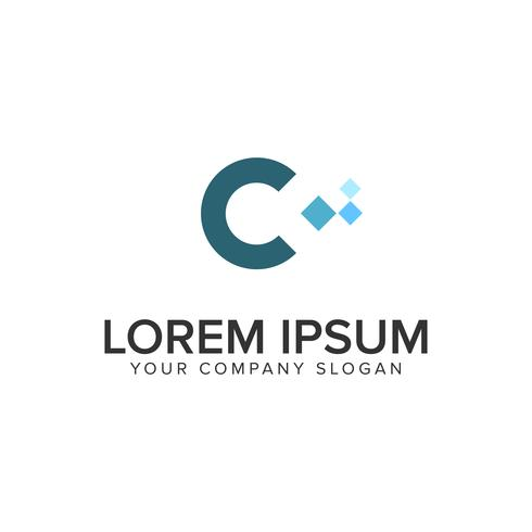 Plantilla de concepto de diseño de logo de píxel letra C. vector