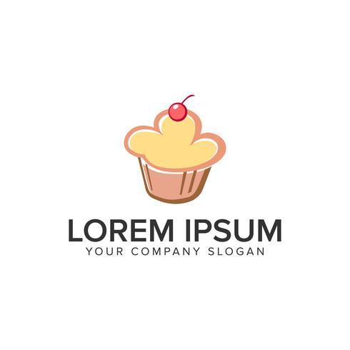 Plantilla de concepto de diseño de logo de comida de pastel. vector completamente editable
