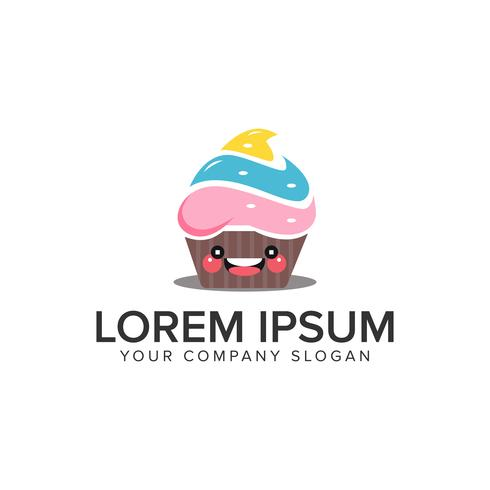 smile cake logo design concept template. fully editable vector