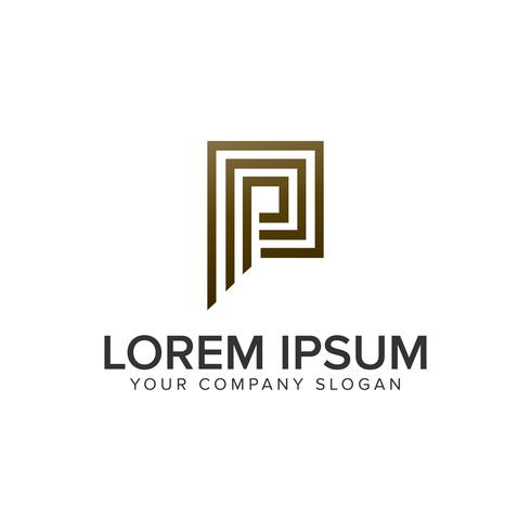 Letra P plantilla de concepto de diseño de logotipo de línea de lujo.