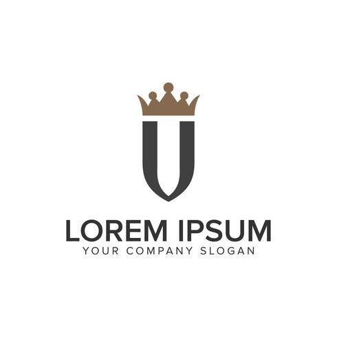letra U com modelo de conceito de design de logotipo de luxo coroa.