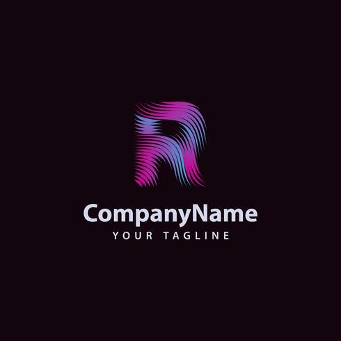 Letra R moderna línea de onda plantilla de diseño de logotipo. vector