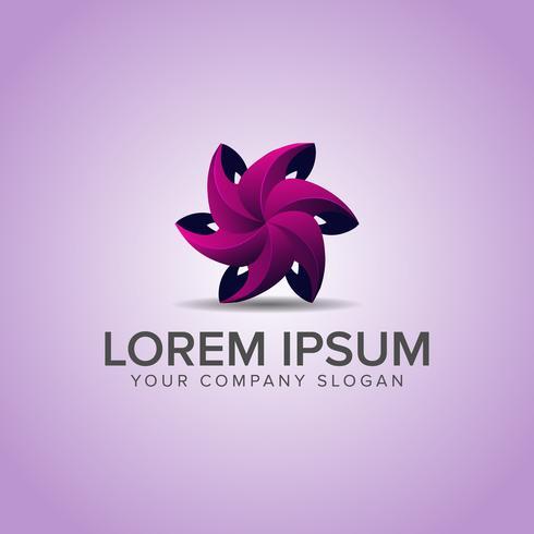 Molde do conceito de projeto do logotipo da flor 3D. vetor totalmente editável