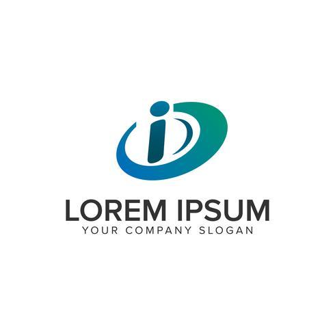 modello di concetto di disegno di marchio di tecnologia lettera I.