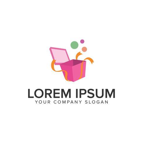 Modèle de concept de design logo ouvert boîte cadeau. vecto entièrement éditable