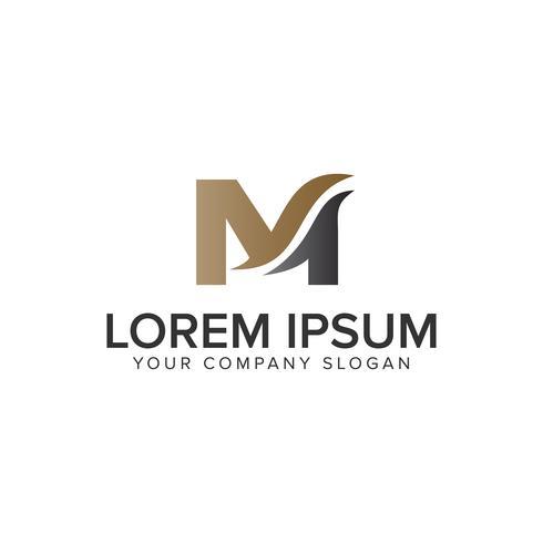 Letra M plantilla de concepto de diseño de logotipo de empresa. completamente editable v