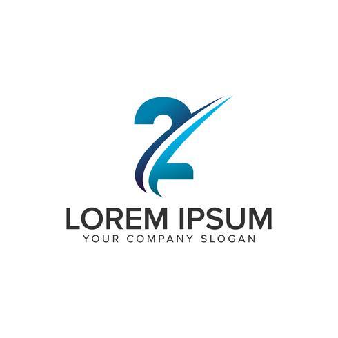 Cative Modern nummer 2 Logo ontwerpsjabloon concept. volledig bewerken