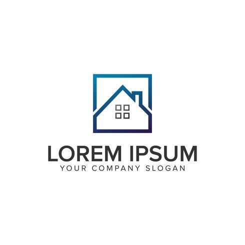Immobilien quadratische Logo-Design-Konzept-Vorlage.