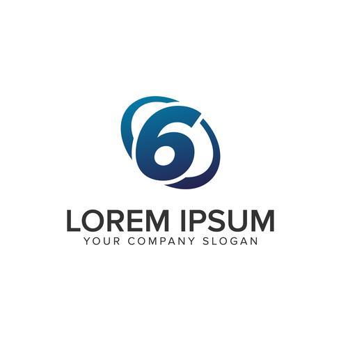 Modèle de concept créatif moderne numéro 6 Logo design concept. entièrement éd