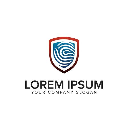 Modelo de conceito de design de logotipo de escudo de segurança de impressão digital. totalmente