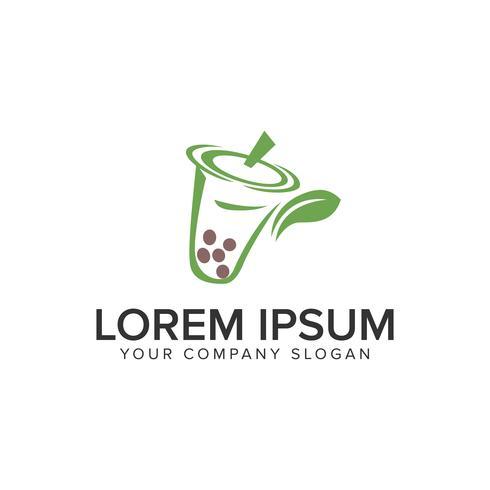 Modelo de conceito de design de logotipo bebida verde. vetor totalmente editável