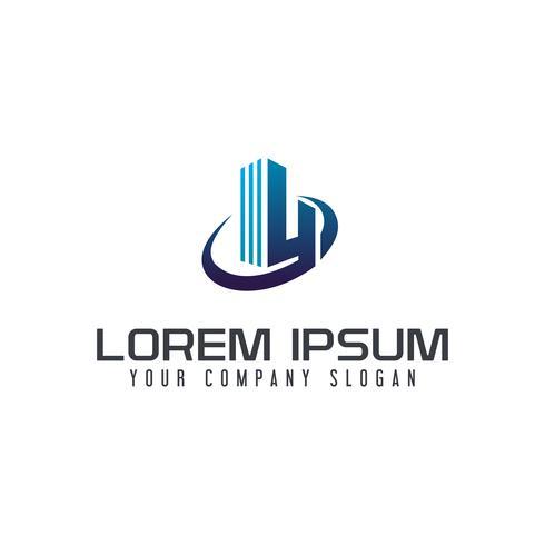 Plantilla de concepto de diseño de logo de construcción de letra y construcción vector