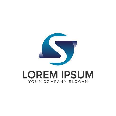 brev S moderna 3D-logotypkonceptkonceptmall. helt redigerbar