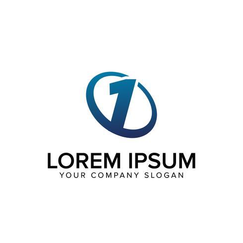 Modelo de conceito de design criativo moderno número 1 logotipo. totalmente ed
