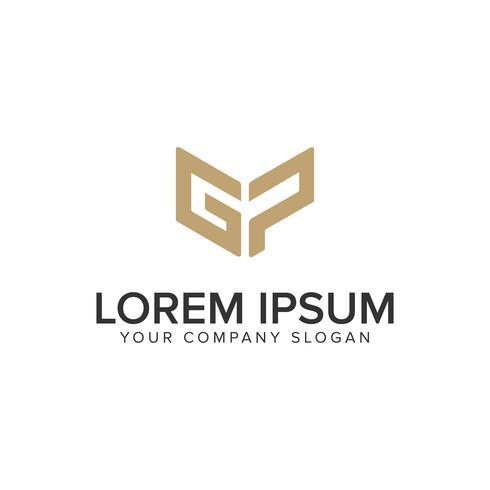 Letra G y P plantilla de concepto de diseño de logotipo creativo único. vector