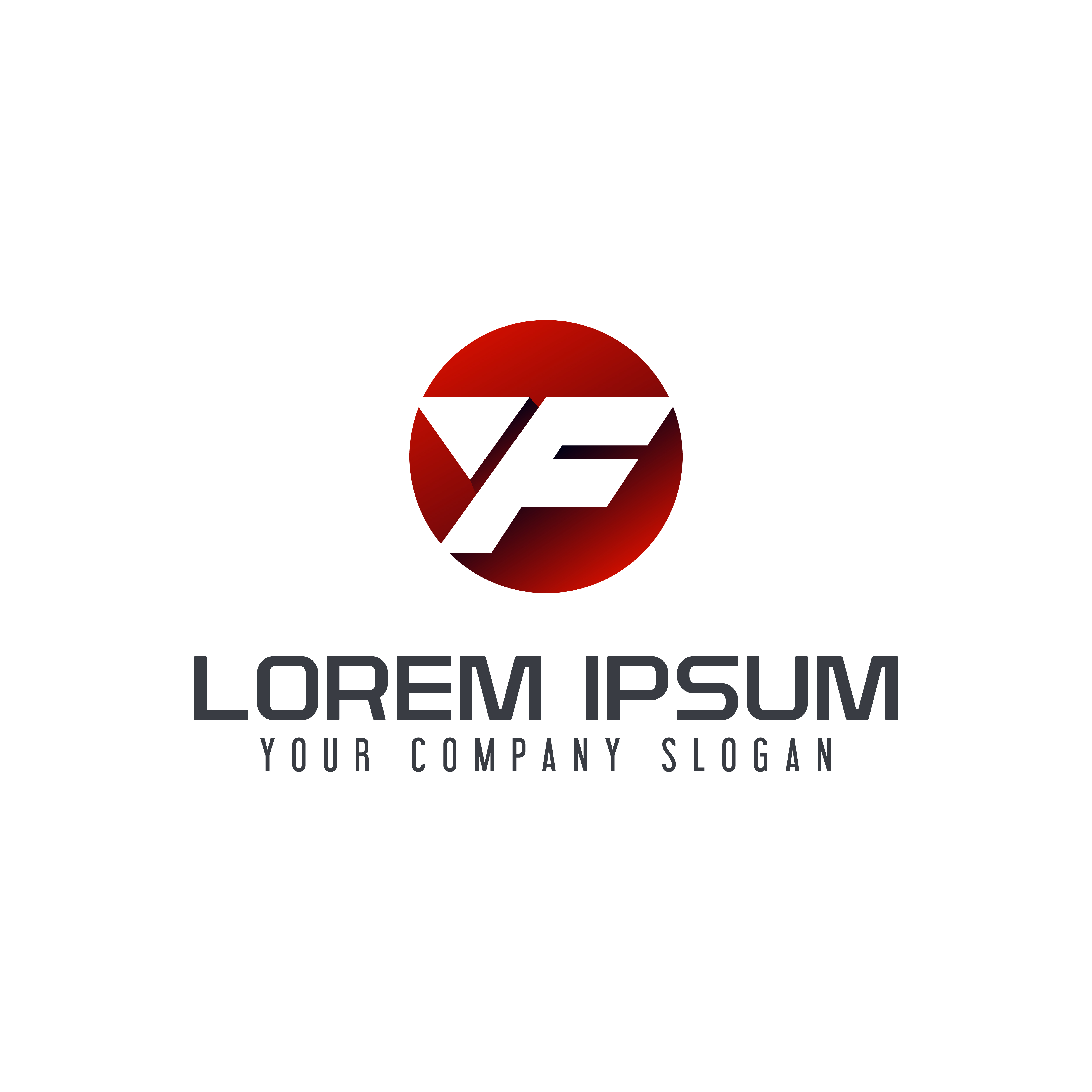 Letter F Modern Logo. Circle Design Concept Template
