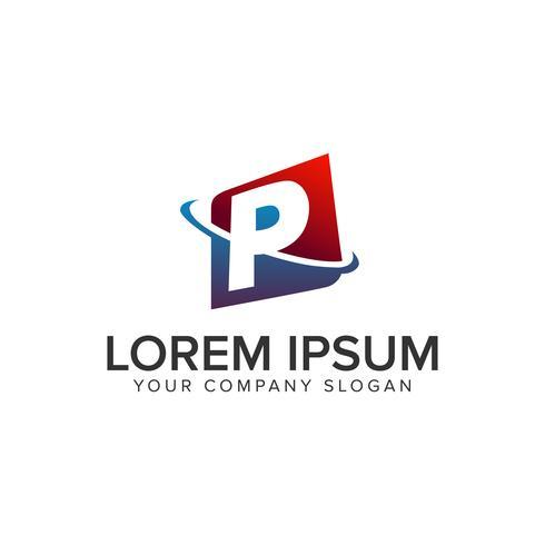 modello di concetto di disegno di marchio moderno lettera P. vec completamente modificabile