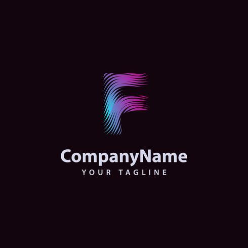 Letter F modern Wave line Logo designmall. vektor