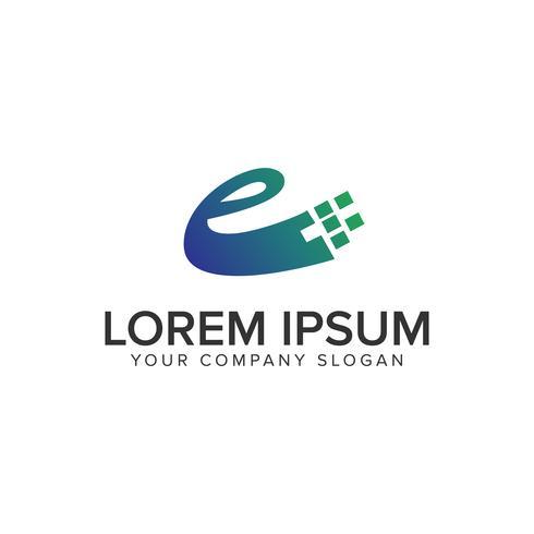 Modelo de conceito de design de logotipo letra E tecnologia