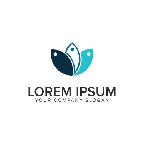 Entwurfskonzeptschablone mit drei Fischen Logo.