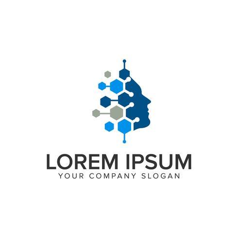 modelo de conceito de design de logotipo intelegent tecnologia humana.