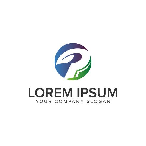 Plantilla de concepto de diseño de logotipo verde naturaleza letra P completamente editab vector