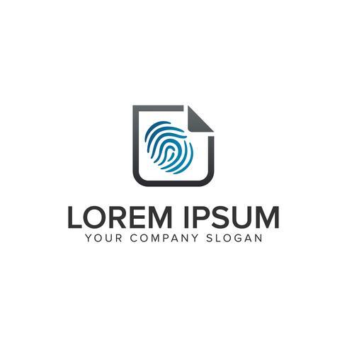 doigt Imprimer modèle de concept de sécurité logo document design. plein