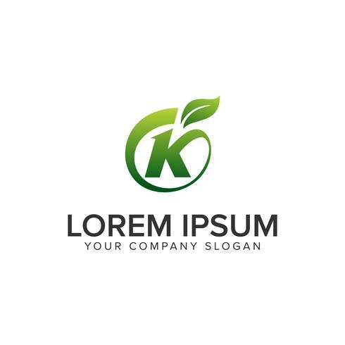 letter K leaf logo design concept template. vector