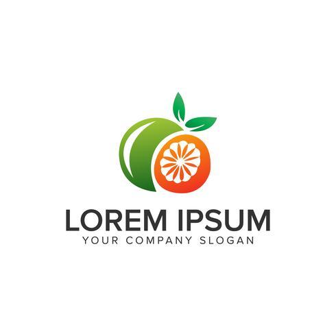 Orangenfrucht Logo Design-Konzept-Vorlage. vollständig bearbeitbarer Vektor