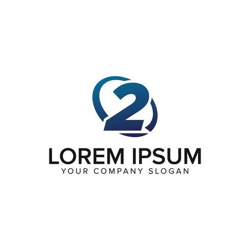 Modelo de conceito de design criativo moderno número 2 logotipo. totalmente ed vetor
