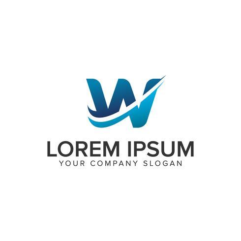 Cative moderne lettre W modèle de concept de design Logo. éditer complètement