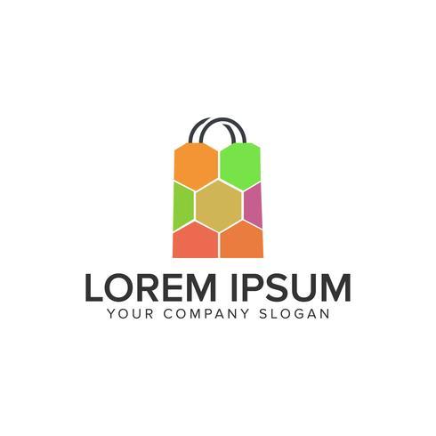 Plantilla de concepto de diseño de logotipo de bolso de compras. vector completamente editable