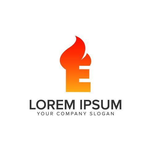brev E tändning Flame logo design koncept mall. helt redigera