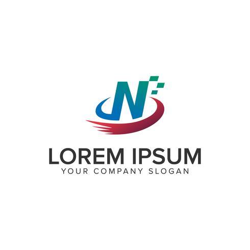 Modello di concetto di disegno di marchio di tecnologia di lettera N