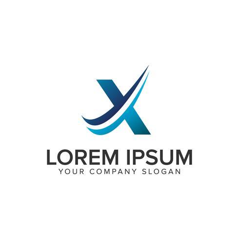 Modelo de conceito de design de logotipo moderno Cative letra X. editar completamente