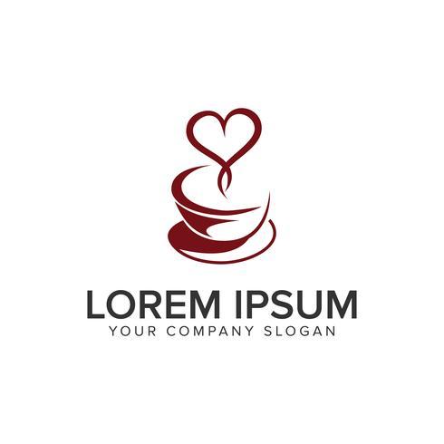 Molde do conceito do projeto do logotipo do amor do café. vetor