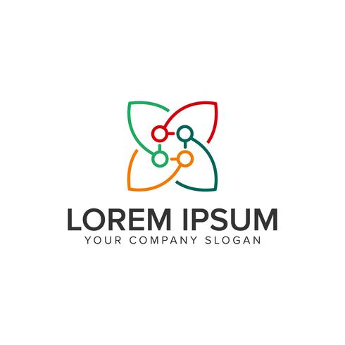leaf line logo design concept template.