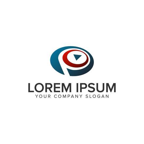 Letra P Joga o modelo de conceito de design de logotipo multimídia. totalmente edi