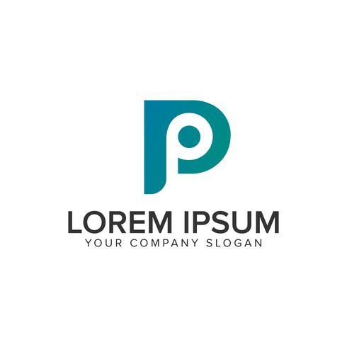 modello di concetto di disegno di marchio moderno lettera P.
