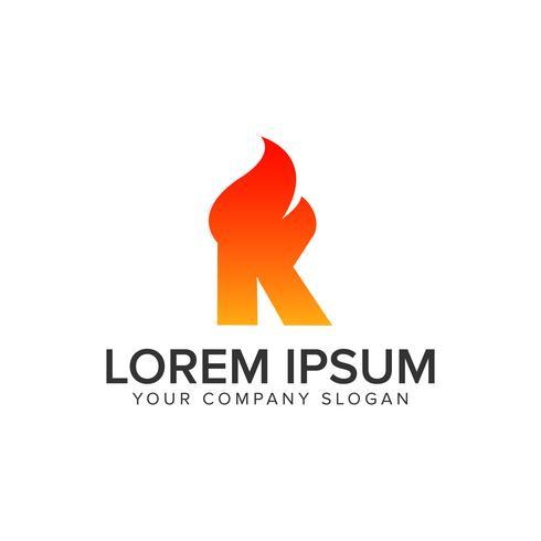 brev K tändning Flame logo design koncept mall. helt redigera