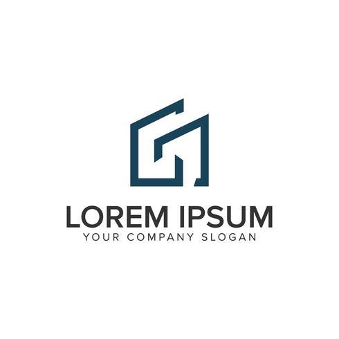 Letra G plantilla de concepto de diseño de logotipo de inmobiliaria minimalista.