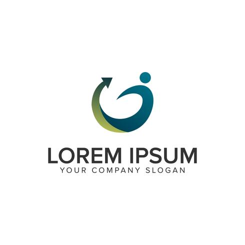 Menschen Pfeil Logo-Design-Konzept-Vorlage.