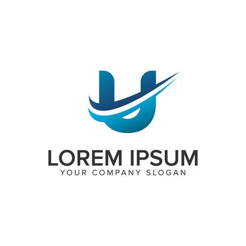 Cative Modernt brev U Logo design koncept mall. helt redigera
