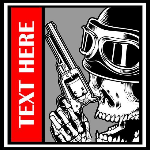 skull wearing cap handling gun vector - Vector
